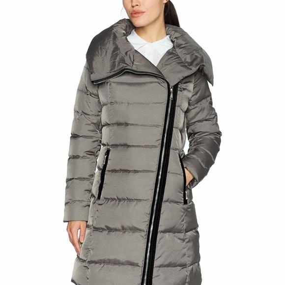 T Tahari Jackets & Blazers - T Tahari Womens Velvet-Trim Asymmetrical Down Coat